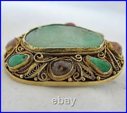 1.55 Antique Chinese Vermeil Silver Brooch with Green Jadeite Jade & Tourmaline