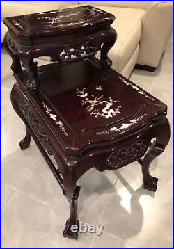 10-Piece Rosewood Vintage Production Chinese Imperial Dragon Living Room Set