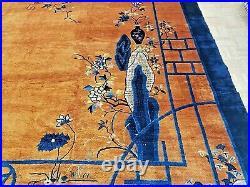 11x15 CHINESE RUG ANTIQUE CIRCA 1920 ART DECO AUTHENTIC 100% WOOL ORIENTAL RUG