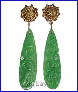 14K Yellow Gold Carved Green Jade Jadeite Diamond Vintage Dangle Drop Earrings