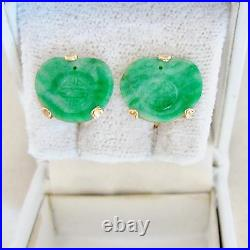 14K Yellow Gold Screw Back Earrings with Antique Chinese 14.5mm Green Jadeite Jade
