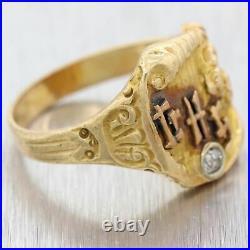 1920s Antique Art Nouveau Deco 14k Yellow Gold Diamond Chinese Cocktail Ring D8