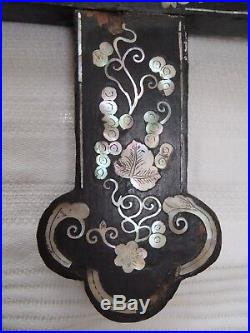 19th Century Chinese Mother of Pearl inlaid hard wood Apostle Cross