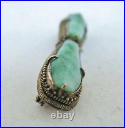 2.3 Antique Chinese Silver Export Brooch Pin with Two 24mm Green JADEITE Jade