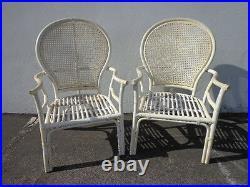 2 Rattan Chairs Chinoiserie Chinese Chippendale Bohemian Boho Beach Armhairs