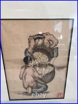 3 Antique Vintage Chinese Watercolours On Velum Paper In Faux Bamboo Frames