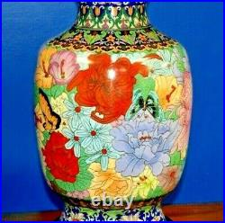 36 Vintage Chinese Cloisonne Vase Lamp Porcelain Enamel Asian Oriental