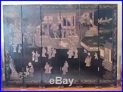 6-Panel Chinese Coromandel Screen, Two-sided Room Divider 72Tx 96W Vintage