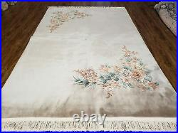 6' X 9' Vintage Hand Made CHINESE Art Deco 120 LINES Wool Rug Flowers Beige Wow