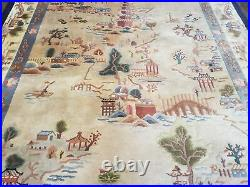 6' X 9' Vintage Hand Made CHINESE Art Deco 90 LINES Wool Rug Scenery Canoeing
