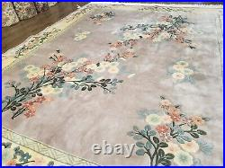 8' X 10' Vintage Hand Made CHINESE Art Deco 120 LINES Wool Rug Flowers Mauve Wow