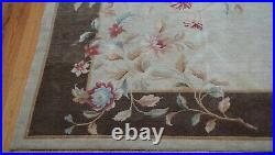 8' x 9'7 Chinese Tibetan Floral Hand-Knotted Wool Art Deco Style Oriental Rug