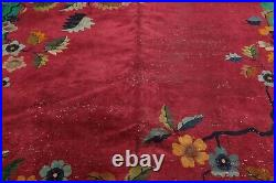 9' x 11'6 Hand Knotted Vintage 100% Wool Chinese Art Deco Oriental Area Rug