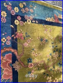 9 x 12 ANTIQUE ART DECO WALTER NICHOLS CHINESE RUG RARE & AMAZING COLORS