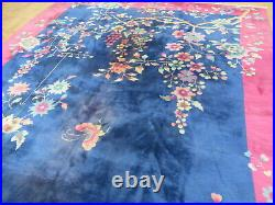 9 x 12 Hand Knotted Blue Antique Oriental Rug Chinese Art Deco Rug G10990