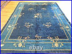 9x12 Antique Blue Art Deco Chinese Oriental Area Rug
