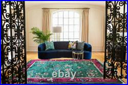 A Must See Antique Green Ground 9' x 12' Art Deco Chinese Rug