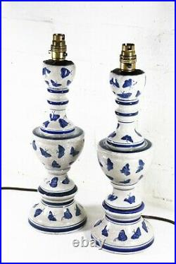 A Pair of Vintage Table Lamps Tall Oriental Chinese Blue & White Antique Style