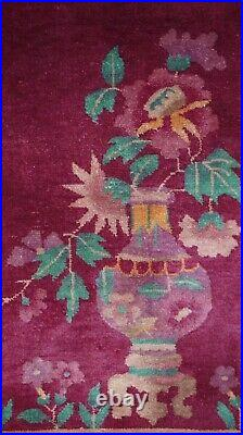 ANTIQUE CHINESE ART DECO FLORAL HAND KNOTTED WOOL ORIENTAL RUG CLEANED 2.6 x 4.8
