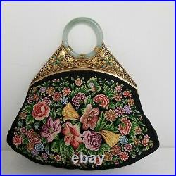 ANTIQUE CHINESE JADE BANGLE BRACELET PETIT POINT EVENING BAG HANDBAG 1920s Deco