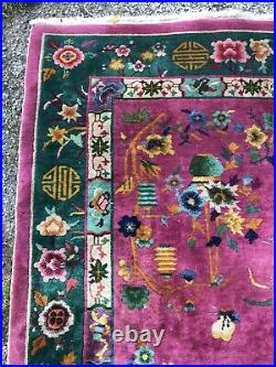 APPROX 1920's ANTIQUE ART DECO CHINESE NICHOLS RUG 6x8.9 LOWEST PRICES HERE