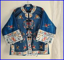 AS IS Lily -Sz S Vintage 1960s 70s Silk Chinese Embroidered Kimono Coat Jacket