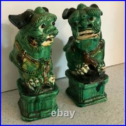 Amazing Pair of Antique Vintage Chinese Foo Dog Figurines Great Details