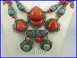Ancient Tibetan Chinese Natural Coral Turquoise Large Hand Made Silver Necklace