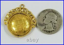 Antique 14K Gold CHINESE GLOBE SPINNER LOCKET FOB Charm 10.4grams