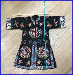 Antique 1920's Vintage Silk Chinese Embroidered Kimono Robe Jacket