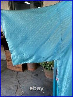 Antique 1930s Blue Silk Chinese Robe Red Embroidered Dragon & Bat Belt Vintage