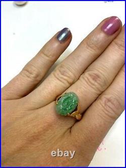 Antique 1930s Chinese 14K Yellow Gold Natural Floral Carved Jade Ring Size 7