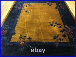 Antique Art Deco 1920s Mandarin Rug Chinese Oriental Carpet 8.1 x 9.6