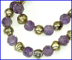 Antique Art Deco Chinese Carved Amethyst Sterling Bead Necklace