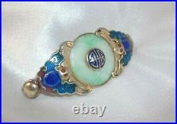 Antique Bracelet PART Chinese Blue Enamel BAT JADE Bi-disc Ring Silver GOLD Wash