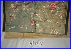 Antique CHINESE SILK TAPESTRY PANEL Embroidered Wall Hanging 52 x 30