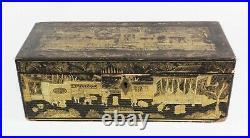 Antique Canton Gilt Lacquer Box + Tray c. 1850