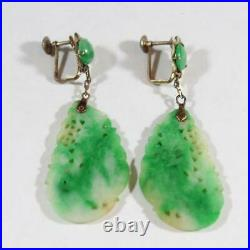 Antique Chinese 14k Gold Carved Natural Green Jadeite Screw Back Earring