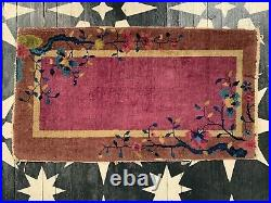 Antique Chinese Art Deco Rug in Purples