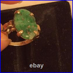 Antique Chinese Carved Jade 10k Gold Ring Size 4