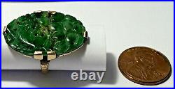 Antique Chinese Carved Jadeite Ring w Rat or Cat Emerald Green as is Translucent