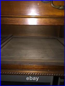 Antique Chinese Chippendale 2 Drawer Burl And Mahogany Server