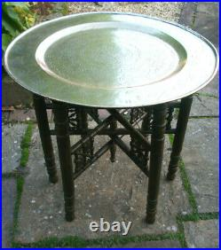 Antique Chinese Folding Side Table With Brass Tray Top