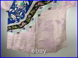 Antique Chinese Hand Embroidered Silk Robe Dress Vintage Imperial Court Pink