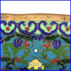 Antique Chinese Late Qing. 1880-1900 Cloisonne Enamel Floral Motif Bowl 10.5 W