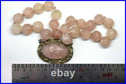 Antique Chinese Natural Hand Carved Amethyst Necklace Sterling Silver Pendant
