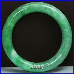 Antique Chinese Natural Icy Translucent Apple Green Jade Bangle Bracelet57mmRare