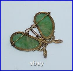 Antique Chinese Natural Jadeite and Gilt Silver Butterfly Pin