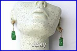 Antique Chinese Qing Dynasty 14K Gold Natural Jadeite Jade Earrings