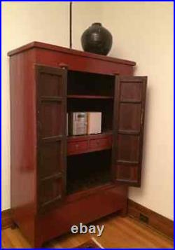 Antique Chinese Red Lacquered Armoire